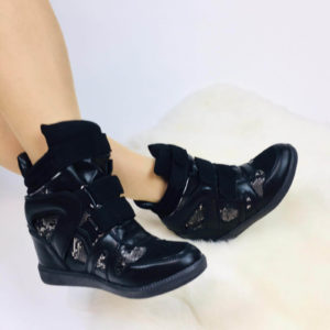 Wedge Sneakers | Zwart Snake